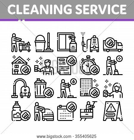 Cleaning Service Tool Collection Icons Set Vector. Liquid For Clean Window And Wash Floor, Vacuum Cl