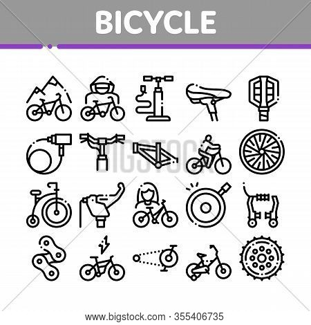 Bicycle Bike Details Collection Icons Set Vector. Mountain Bicycle Wheel And Seat, Brake And Frame,