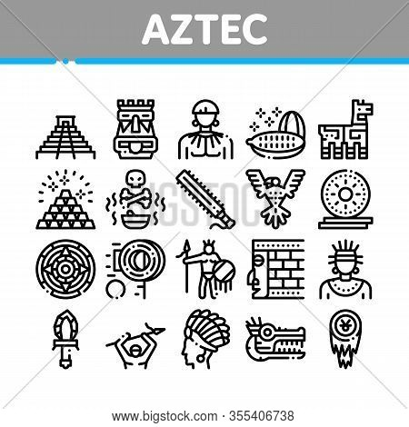 Aztec Civilization Collection Icons Set Vector. Aztec Antique Pyramid And Gold, Bird And Animal, Coz