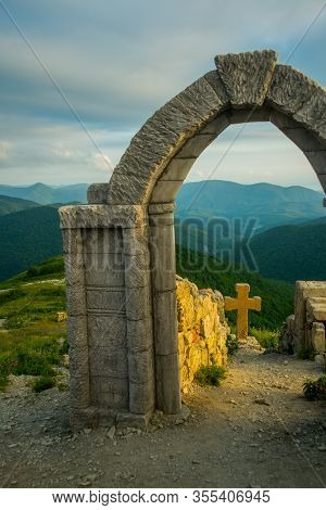 Krasnodar Krai, Russia - June 19, 2015: Beautiful Landscape Of A Ruined Fortress, Ruins And Mountain
