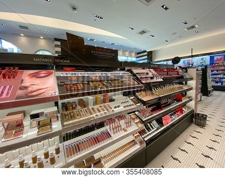 Orlando, Fl/usa-2/29/20:  A Natasha Denona And Givenchy Makeup Aisle In A Sephora Cosmetics Retail S
