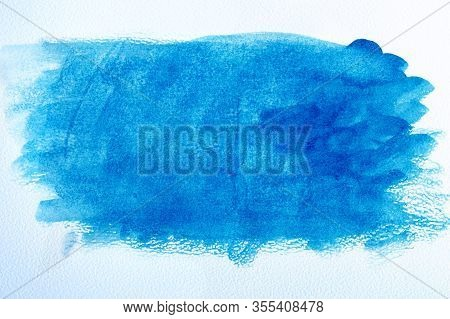 Watercolor Paper And Blue Watercolor Paint. Wet Watercolor Paper. Abstract Blue Background. Blue Wat