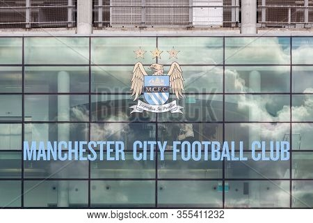 Manchester, England - May 22:  The Crest Of Manchester City Football Club Adorns The Etihad Stadium