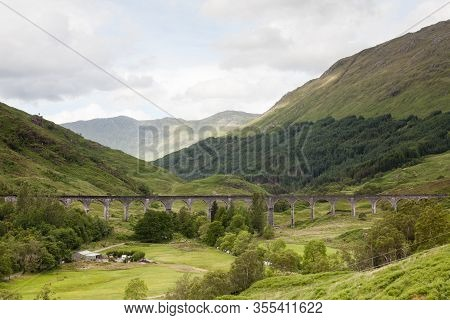 Glenfinnan Viaduct.  A View Of Glenfinnan Viaduct On The West Highland Line In Scotland Between Fort