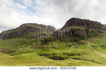 Glencoe Hillside.  A View Of The Glencoe Hillside In The Scottish Highlands.  Glencoe Is The Most Fa