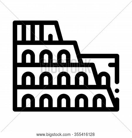 Coliseum Building Icon Vector. Outline Coliseum Building Sign. Isolated Contour Symbol Illustration