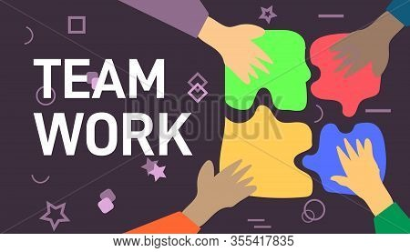 Teamwork Concept. Hands Holding Puzzle Pieces. Teamwork And Team Building Flat Vector Illustration.