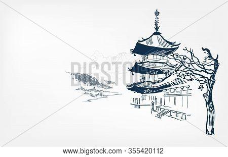Buddhism Temple Card Nature Landscape View Landscape Card Vector Sketch Illustration Japanese Chines