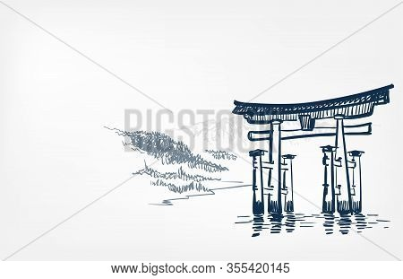 Water Gates Thorium View Landscape Card Vector Sketch Illustration Japanese Chinese Oriental Line Ar