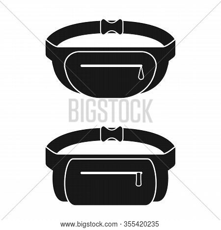Black Waist Bag. Fanny Pack For Man And Woman. Vector Illustration