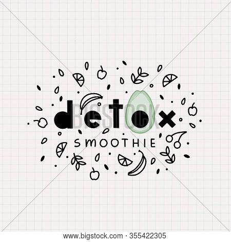 Vector Template Design Detox Smoothie For Homemade Smoothie Glass.