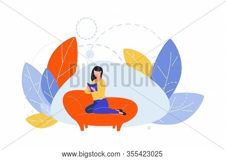 Reading, Hobby, Domestic Education Concept. Illustration Of Woman Girl Student Lying At Couch With B