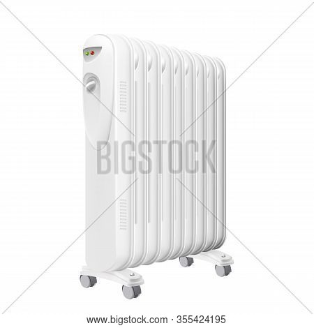 Electric Oil Heater Radiator Equipment Vector. Electrical Oil-filled Radiator With Heat Control And