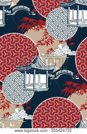 Alcove Bridge Maple Circles Japanese Chinese Vector Design Pattern Blue Red