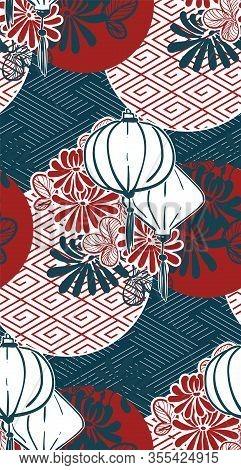 Lamp Paper Lantern Circles Japanese Chinese Vector Design Pattern Blue Red
