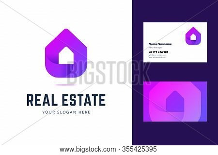 Logo And Business Card Template For Real Estate, House Rental Services. Simple Geometric House Symbo