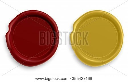 Wax Stamp. Realistic Round Red And Gold Seal Illustration For Letter Mark. Circle Design Envelope St