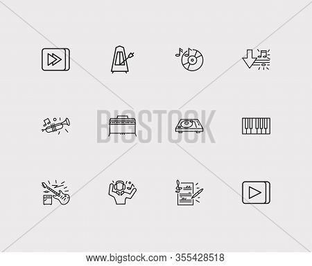Musical Icons Set. Music Record And Musical Icons With Electric Guitar, Metronome And Download Music