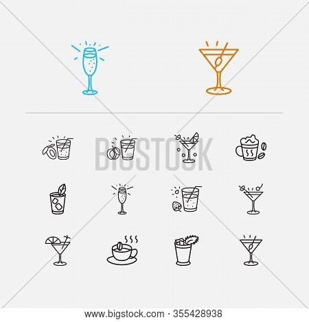 Cocktails Icons Set. Martini With Olive And Cocktails Icons With Liquor, Champagne And Martini. Set