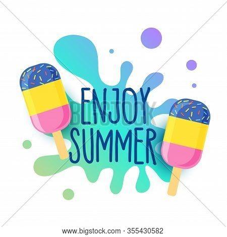 Happy Summer Icecream Background With Water Splash Design Illustration