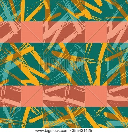 Colorful Brush Stroke Canvas Plaid Seamless Pattern Background. Coarse Painterly Criss Cross Stripe