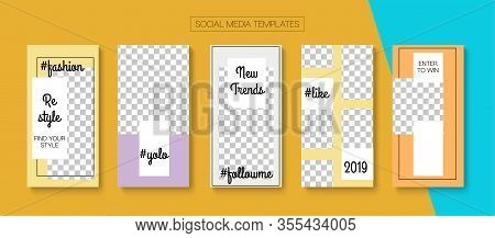 Mobile Stories Vector Collection. Online Shop Fashion Invitation Phone. Blogger Minimal Cards, Socia
