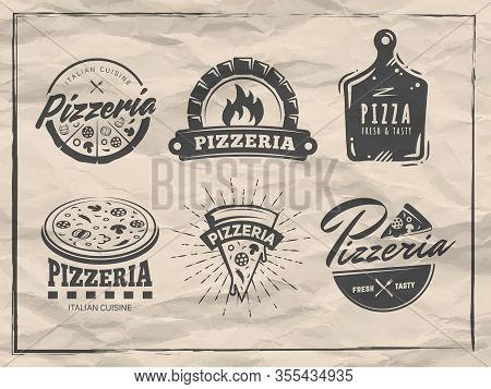Pizzeria Badges. Set Of Pizza Logos With Whole Pizzas And Slices. Labels For Trattoria, Pizzeria, It