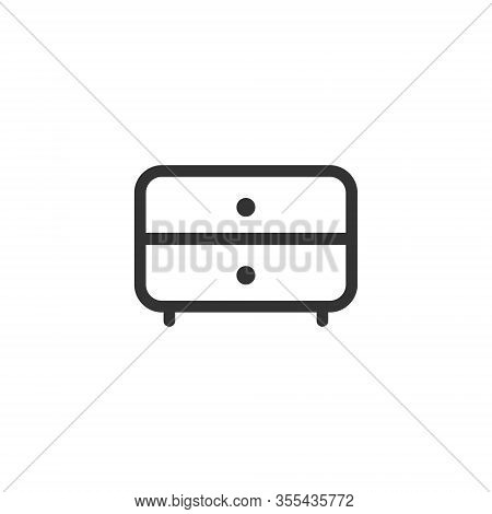 Chest Of Drawers Vector Icon. Bedside Commode Logo. Nightstand Drawer Chest Line Outline Flat Design