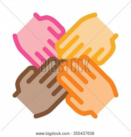 Group Handshake Icon Vector. Outline Group Handshake Sign. Isolated Contour Symbol Illustration