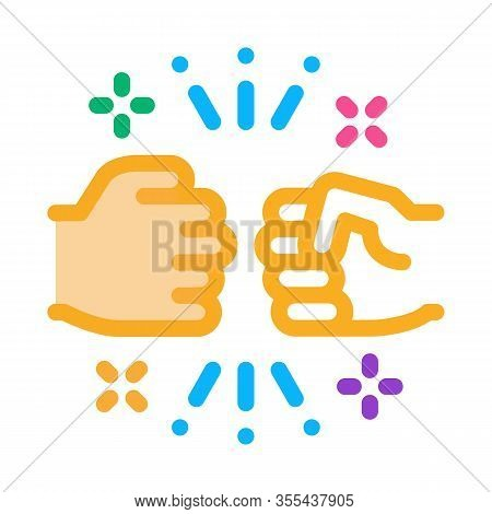 Friend Fist Bump Icon Vector. Outline Friend Fist Bump Sign. Isolated Contour Symbol Illustration