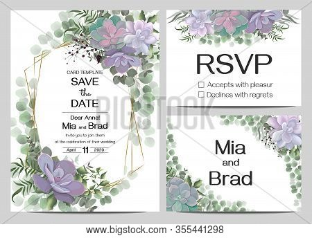 Template For Wedding Invitations. Floral Border, Succulents, Green Berries, Branches, Plants And Lea