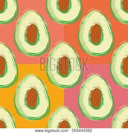 Avocado Seamless Vector Pattern Background. Hand Drawn Painterly Fruit Illustration With Pink Orange