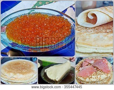 Photo Collage Traditional Russian Pancakes. Blini. Pancake Week. Maslenitsa Is An Eastern Slavic Tra