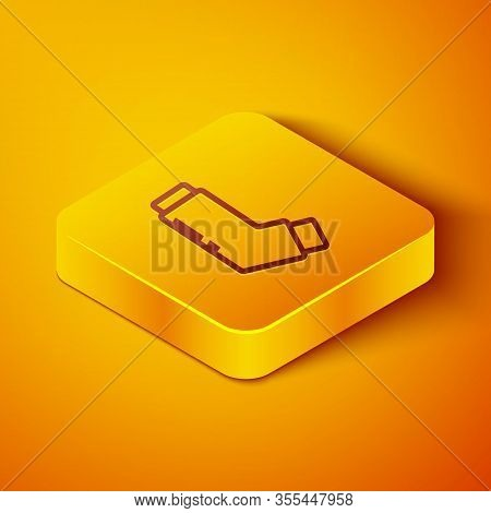 Isometric Line Inhaler Icon Isolated On Orange Background. Breather For Cough Relief, Inhalation, Al