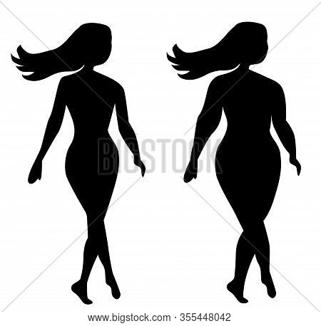 Silhouettes Of Two Girls Thick And Slender Slim And Fat On A White Background. A Young Beautiful Gir