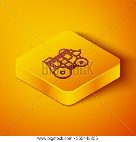Isometric Line Western Stagecoach Icon Isolated On Orange Background. Yellow Square Button. Vector I