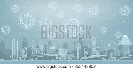 Smart City Concept With Different Icon And Elements.thin Line Cityscape With Skyscrapers. Line Moder