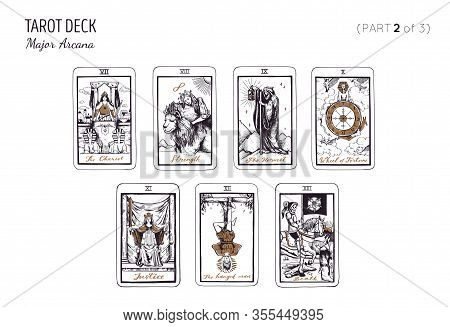 Tarot Card Deck. Major Arcana Set Part 2 Of 3 . Vector Hand Drawn Engraved Style. Occult And Alchemy
