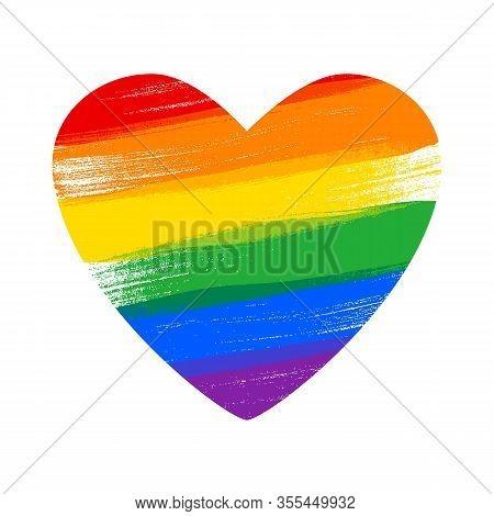 Heart In Rainbow Lgbt Flag Colors - Paint Style Vector Illustration.