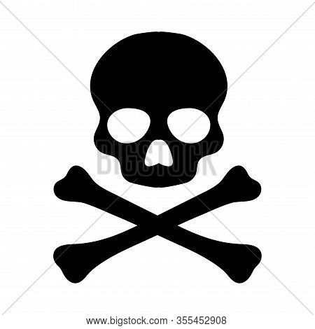 Crossbones. Death Skull, Danger Or Poison Flat Vector Icon For Apps And Websites