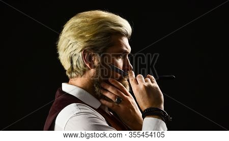 Caucasian Hipster With Moustache. Male In Barbershop. Mature Man With Dyed Hair In Blonde. Vintage B
