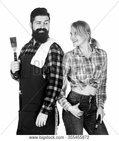 Bearded Hipster And Girl Hold Cooking Grilling Utensils White Background. Picnic And Barbecue. Backy