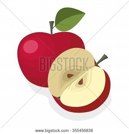 Fresh Red Apple On A White Background. Half An Apple Of Delicious Sweet Fruit. Can Be Used As Emblem