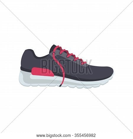 Sports Shoes Cartoon Icon. Fashionable Stylish Woman Sneakers With Pink Shoelaces. Time For Running