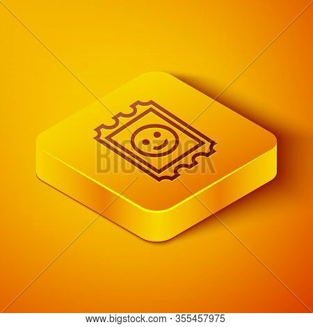 Isometric Line Lsd Acid Mark Icon Isolated On Orange Background. Acid Narcotic. Postmark. Postage St