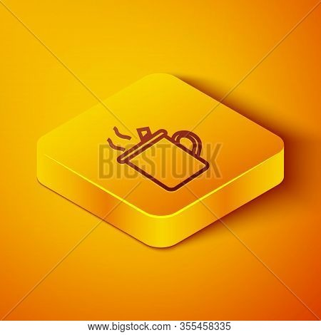 Isometric Line Mulled Wine With Glass Of Drink And Ingredients Icon Isolated On Orange Background. C