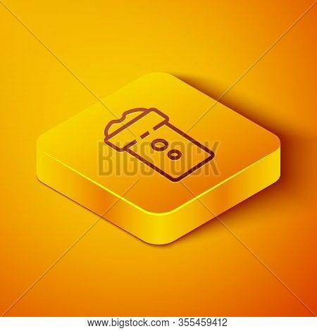Isometric Line Vagina Masturbator Icon Isolated On Orange Background. Sex Toy For Man. Yellow Square