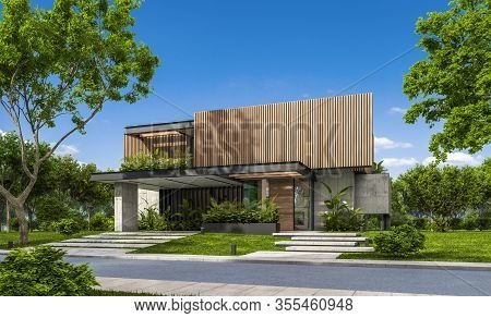 3D Rendering Of Modern House With Wood Plank Facade