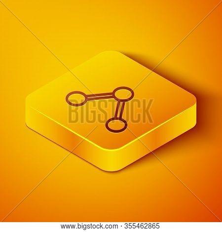 Isometric Line Share Icon Isolated On Orange Background. Share, Sharing, Communication Pictogram, So