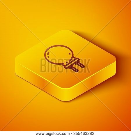 Isometric Line Light Emitting Diode Icon Isolated On Orange Background. Semiconductor Diode Electric
